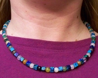 Gaia -- Gemstone and Greek Ceramic Beads Necklace