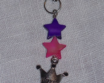 Pink and Purple Star Princess Cell Phone Charm / Zipper Pull