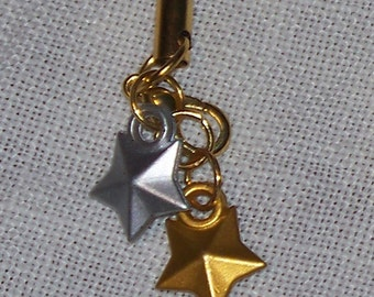 Silver and Gold Stars Cell Phone Charm / Zipper Pull