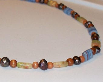 Bohemian Carnivale -- Czech Glass, Wood, and Black Baroque Pearl Beaded Necklace