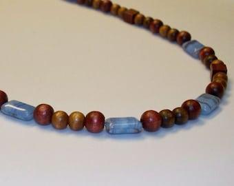 Simple Bohemian Czech Wood and Czech Glass Beaded Necklace