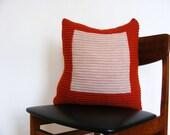 Hand knit colourblock cushion