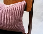 Moss Stitch Cushion - Handknit in Rose Pink