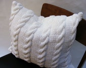 Chunky Cable Cushion - Hand Knit in White