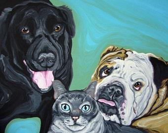 Your Pet Custom Portrait-Multiple portrait up to 4 Dog or Cat-9 x 12