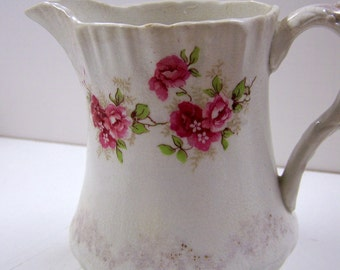 Vintage Mellor & Co Porcelain Pitcher Pink Roses