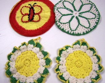 Vintage Pot Holders Crochet Round Set of 4