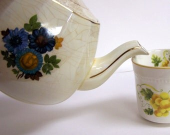 Vintage Teapot Ellgreave Ironstone English  Blue Flowers