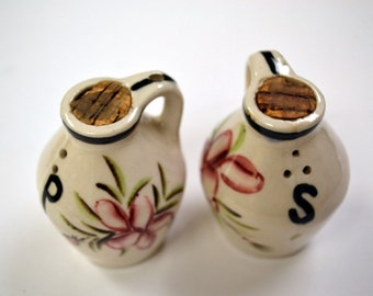 Vintage Ceramic Salt and Pepper Shakers Jugs with Pink Flowers
