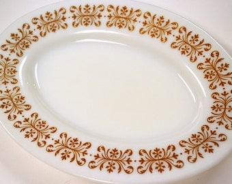 Vintage Pyrex Oval Plates Copper Filigree  and Green Floral Two Plates