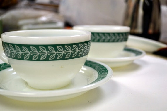 Vintage Pyrex Tableware Cups and Saucers Fern Green Set of Two