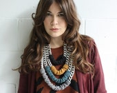 Necklace - Jumbo Chain and Wool - Silver combo - 4 chains - LAST ONE
