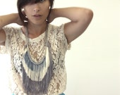 Fringe Necklace - Grey, Champagne, Denim with Silver tone Chain