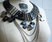 "Black Leather and Grey Agate - ""Battle"" Necklace - RESERVED for lizpesnel"