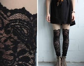 Lace Leggings - Black Lace - Psych Out Faux Thigh High - LAST PAIR