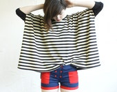 Box T - Black and Cream Stripe - bamboo spandex sleeves - One Size - Last One