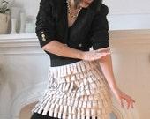 Cream Melange Jersey Fringe Bandage skirt - size M
