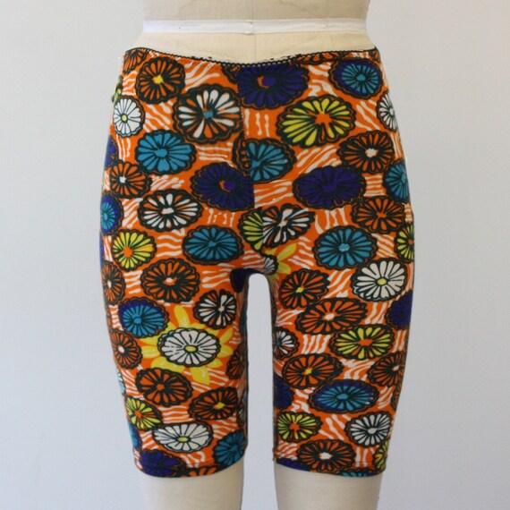 Bike Shorts - Orange Pop Floral - LAST PAIR - XS