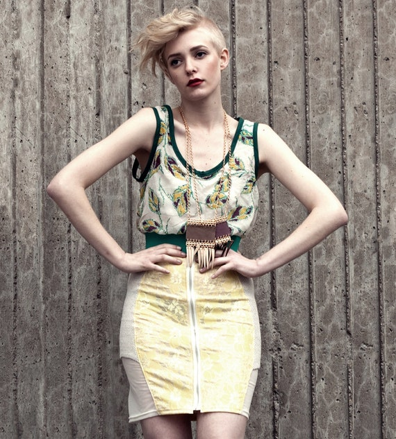 Scuba Skirt - Lemon, Jade and Cream - S, M, L