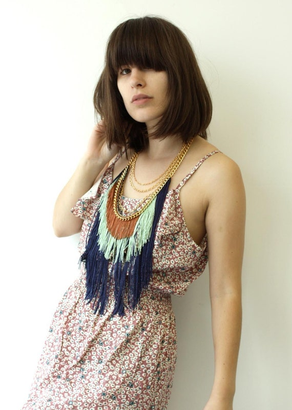 Three Layer Fringe Necklace - Navy, Celery, Copper
