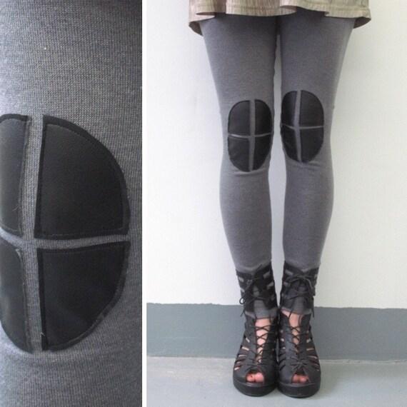Knee Patch Leggings - Grey