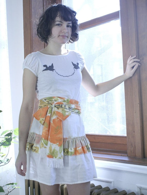Tiered Skirt with Tassle Sash - 2 sizes (M and L)