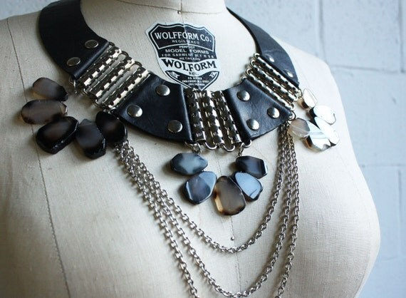 """Black Leather and Grey Agate - """"Battle"""" Necklace - RESERVED for lizpesnel"""