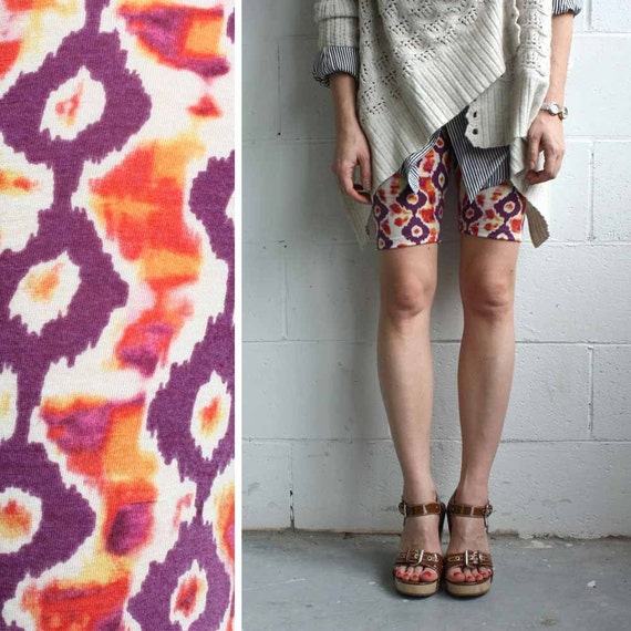 Bike Shorts - Printed Jersey Ikat Pattern - LAST PAIR - XS
