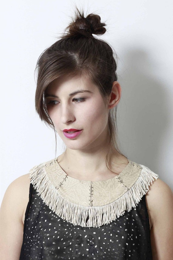 Fringe and Leather Collar - Natural