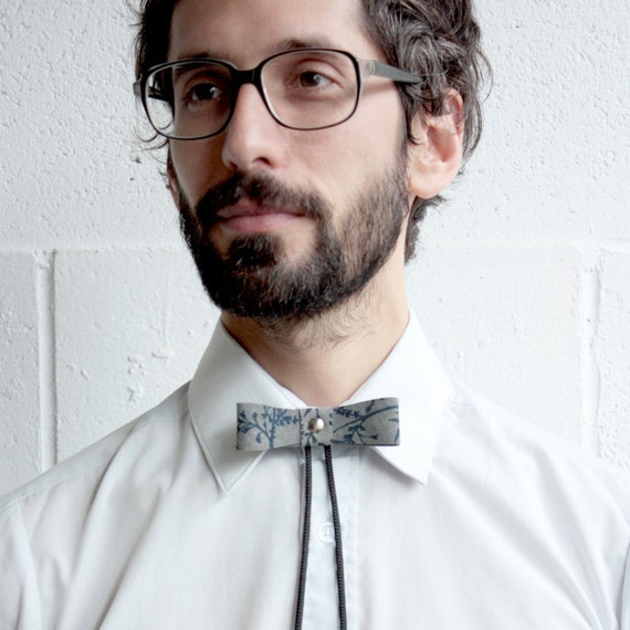 """Bolo Tie - """"Bow Lo"""" - Grey Suede with Navy Branches, Silver Ball Tip - 2 available"""
