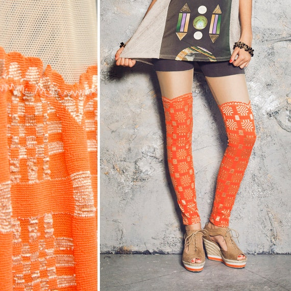 Faux Thigh High Leggings - Orange & Taupe Plaid Lace - Size S