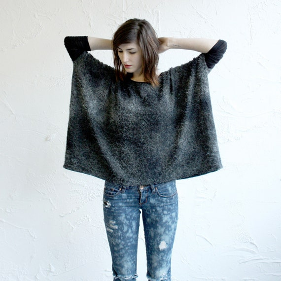 Box T - Tie Dye Grey and Black Fuzzy Knit - black sleeves - One Size - LAST ONE