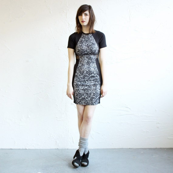 Fitted T-shirt dress - Black Bamboo, Sheer Mesh and Lace Print Shimmery Spandex - Size S