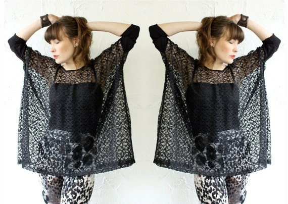 Box T - Black Modern Circles Lace, bamboo/spandex sleeves - One Size - LAST ONE