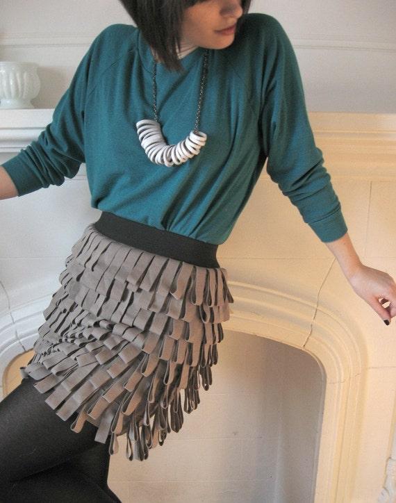 Taupe Jersey Fringe Bandage skirt - Small and Medium