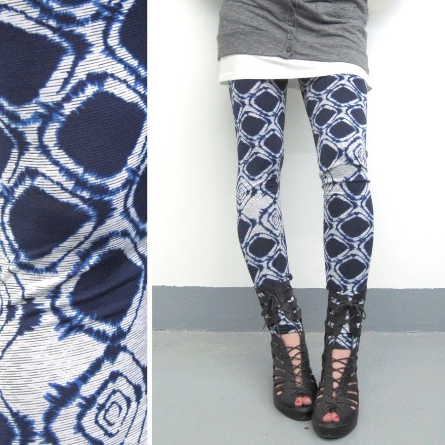 Luxe Collection Leggings Navy Diamond Tie Dye