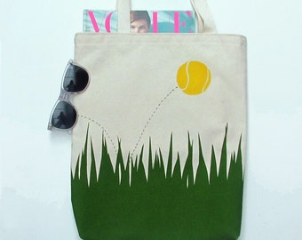 A spot of tennis printed canvas tote bag