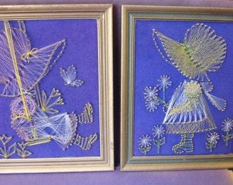 2 Vintage String Art Pictures Sun Bonnet Sue