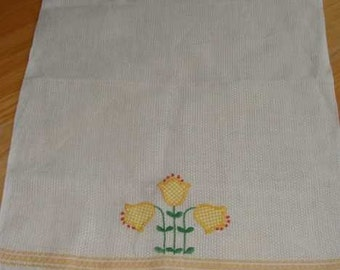 Vintage Hand Towel with Embroidered Appliqued Gingham Tulips