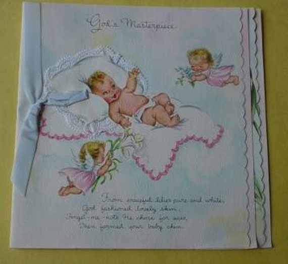 Vintage Card Gods Masterpiece New Baby Keepsake Booklet Poetry by Dora Dinsmore 1940