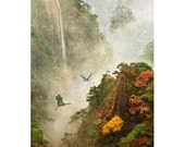 Cranes at HuangShan, archival limited edition Fine Art Photographic Print matted to 20x24