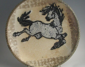 Large platter with horse wood fired salt glaze stoneware