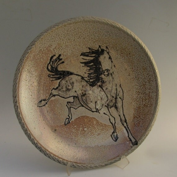 Large platter with horse wood fired salt glaze stoneware