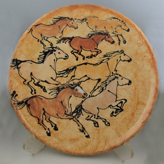Plate with multiple horses stoneware pottery