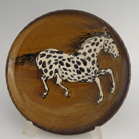 Plate with Leopard Appaloosa horse  stoneware pottery