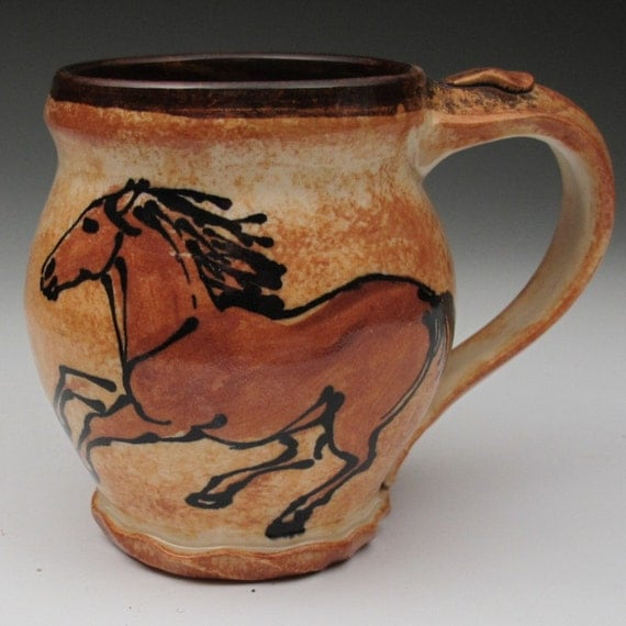 mug with horses stoneware pottery cup