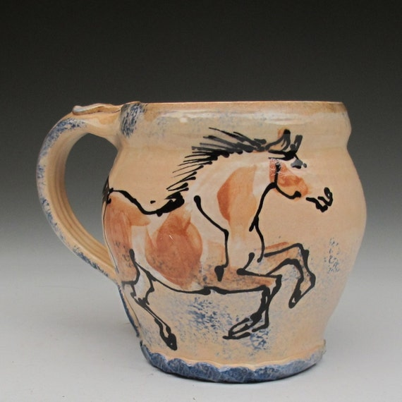 mug with paint horses stoneware pottery cup