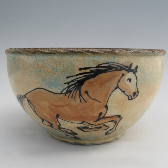 Serving bowl with three horses stoneware pottery