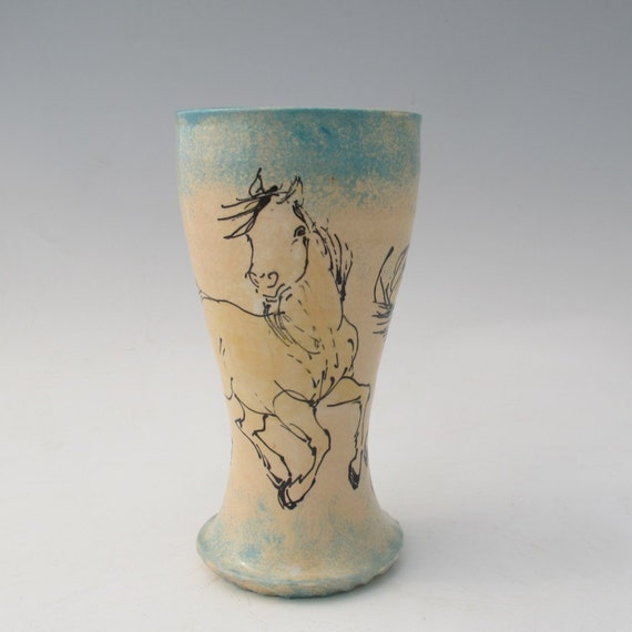 Pilsner with  two horses slip trailed stoneware pottery vase