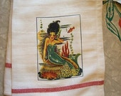 vintage mermaid dish towel retro 1950's pin up rockabilly kitchen decor kitch